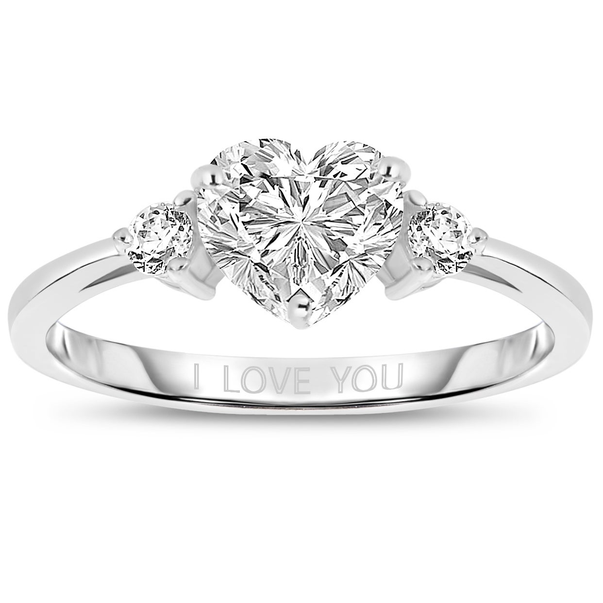 Collette Z Sterling Silver With Rhodium Plated Clear Heart And Round Cubic Zirconia Three Stone I Love You Engagement Ring On Sale Overstock 8672638