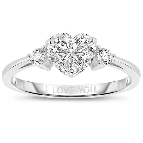 "Collette Z Sterling Silver with Rhodium Plated Clear Heart and Round Cubic Zirconia Three-Stone ""I Love You"" Engagement Ring"