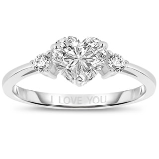 "Link to Collette Z Sterling Silver with Rhodium Plated Clear Heart and Round Cubic Zirconia Three-Stone ""I Love You"" Engagement Ring Similar Items in Cycling Equipment"