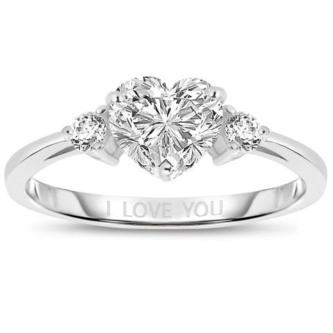 """Collette Z Sterling Silver with Rhodium Plated Clear Heart and Round Cubic Zirconia Three-Stone """"I Love You"""" Engagement Ring"""