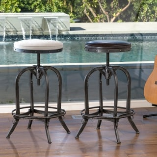 "Link to Gunner 28-inch Swivel Bar Stool by Christopher Knight Home - 27.5-33.25""h x 18.5""w Similar Items in Dining Room & Bar Furniture"
