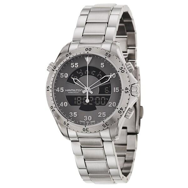 83539e6cc8f Shop Hamilton Men s  Khaki Aviation Flight Timer Quartz  Stainless Steel  Watch - Free Shipping Today - Overstock - 8672683