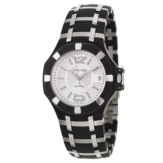 Concord Men's 'Saratoga' Black Stainless Steel Swiss Quartz Watch