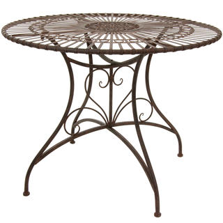Handmade Rust Patina Rustic Circular Garden Table (China)