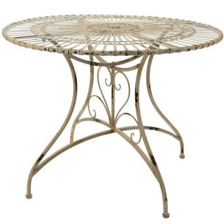 Handmade Distressed White Rustic Circular Garden Table (China)