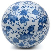 Handmade Blue Leaves 6-inch Decorative Porcelain Ball (China)