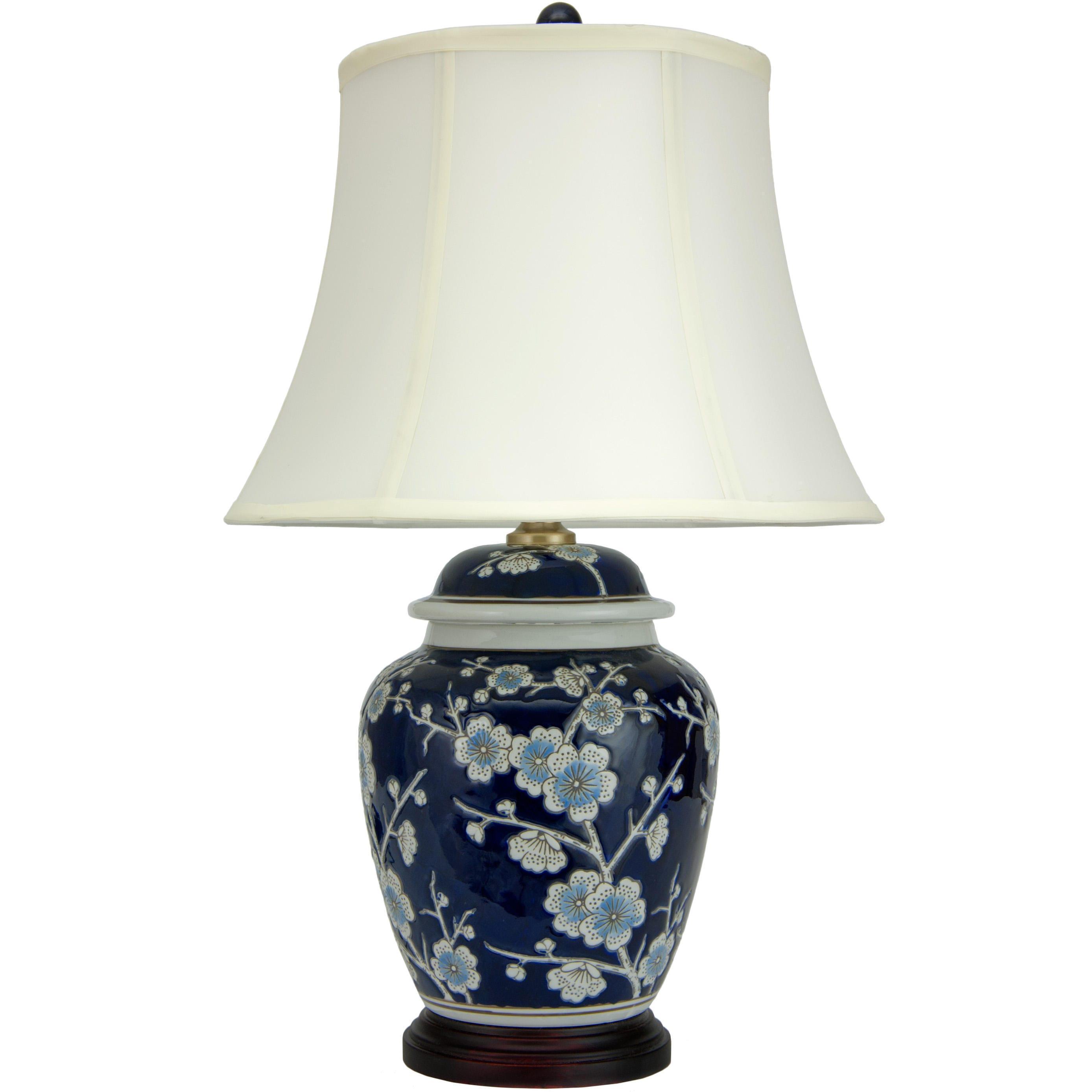 Handmade 22-inch Blue Cherry Blossom Lamp (China) (Fabric)
