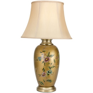 27-inch Flowers on Pale Gold Porcelain Vase Lamp (China)