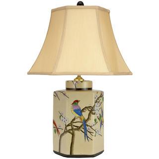 Handmade 22-inch Birds and Flowers Porcelain Jar Lamp (China)