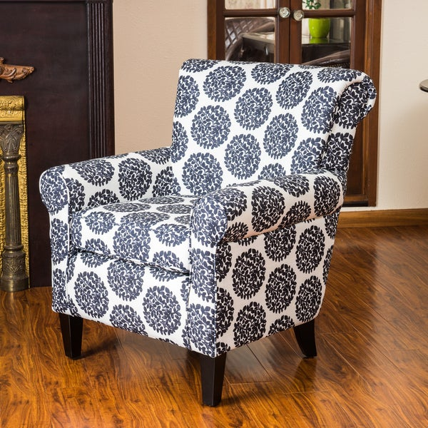 Roseville Black & White Fabric Floral Club Chair