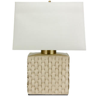 23-inch Basket Weave Cream Porcelain Jar Lamp (China)