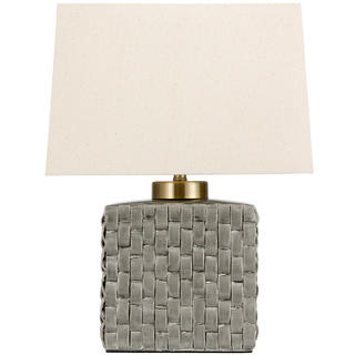 23-inch Basket Weave Gray Porcelain Jar Lamp (China)