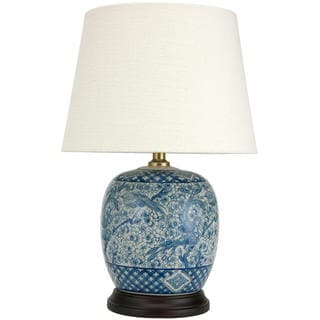 Handmade 20 Inch Classic Blue And White Porcelain Jar Lamp (China)