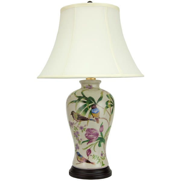 Handmade 24-inch Floral White Porcelain Lamp (China)