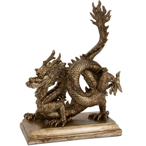 Handmade Chinese Dragon 11-inch Statue (China)