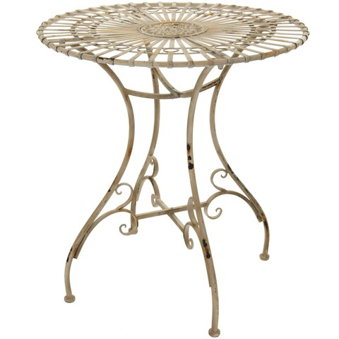 Handmade Maison Rouge Wendell Rustic Distressed White Garden Table (China)