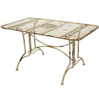 Rustic Distressed White Rectangular Garden Table (China)