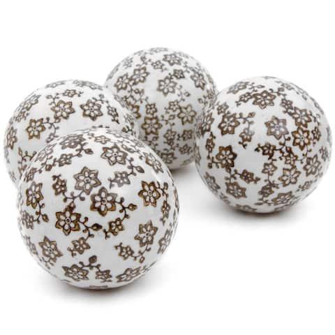 """Handmade 4"""" Gold Star Flowers Porcelain Ball, Set of 4"""