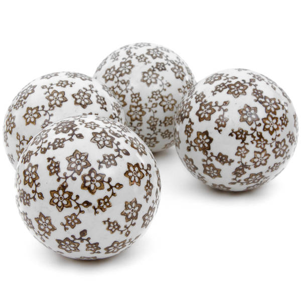 Handmade Gold Star Flowers 4-inch Porcelain Ball Set (China)