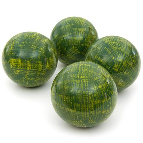 "Handmade 4"" Green Porcelain Ball, Set of 4"