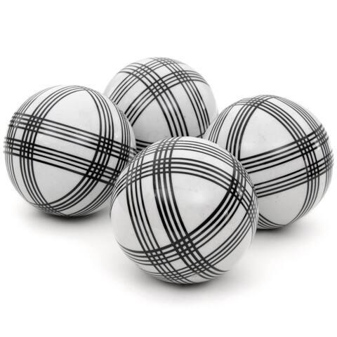 """Handmade 4"""" Black Stripes Porcelain Ball, Set of 4"""