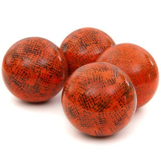 Sponged Dark Orange 4-inch Porcelain Ball Set (China)