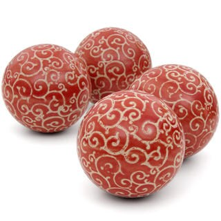 Handmade Red and Beige Vines 4-inch Porcelain Ball Set (China)