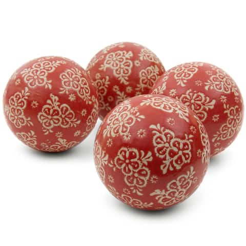 "Handmade 4"" Red and Beige Flowers Ball, Set of 4"