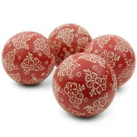 Handmade Red and Beige Flowers 4-inch Porcelain Ball Set (China)