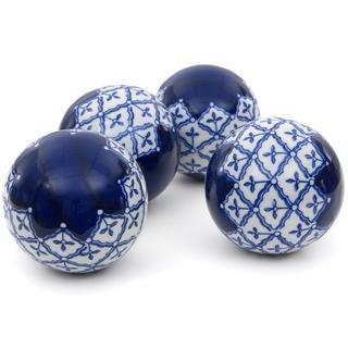 Blue and White Medallions 4-inch Porcelain Ball Set (China)