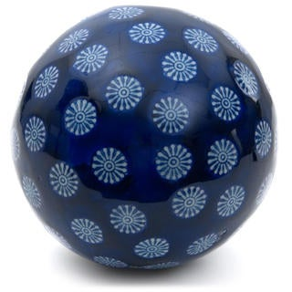 Handmade Blue with White Stars 6-inch Decorative Porcelain Ball (China)