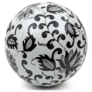 Handmade Black Leaves 6-inch Decorative Porcelain Ball (China)
