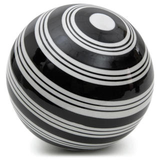 Handmade White Strips 6-inch Decorative Porcelain Ball (China)