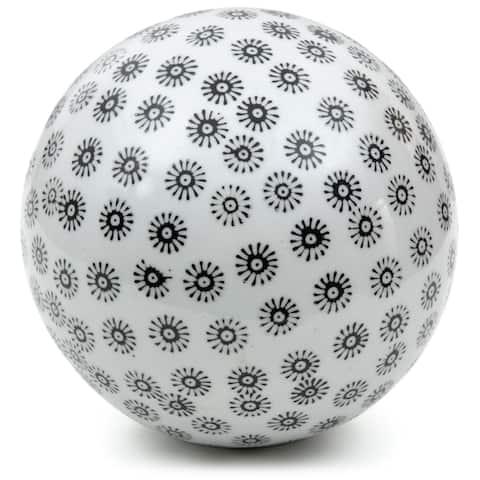 "Handmade 6"" White with Black Stars Decorative Porcelain Ball"