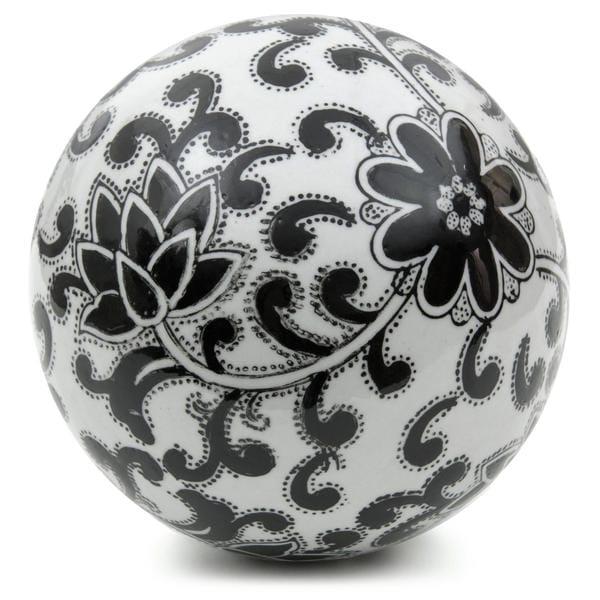 Handmade Black Flowers 6-inch Decorative Porcelain Ball (China)