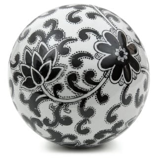 Black Flowers 6-inch Decorative Porcelain Ball (China)