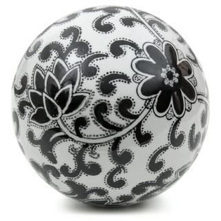 Handmade Black Flowers 6-inch Decorative Porcelain Ball (China)