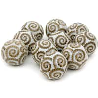 Handmade Golden Spirals 3-inch Porcelain Ball Set (China)