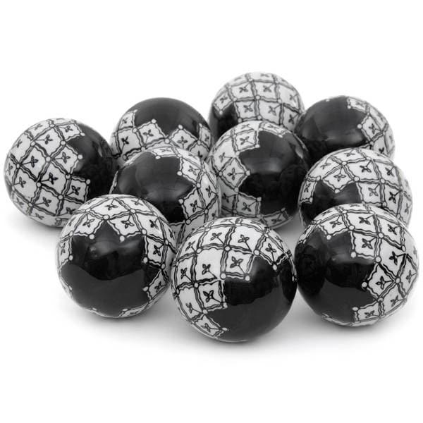 Handmade Black and White 3-inch Porcelain Ball Set (China)
