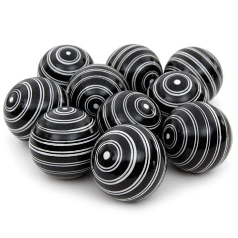 """Handmade 3"""" White Double Stripes Porcelain Ball, Set of 10"""