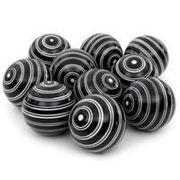 Handmade White Double Stripes 3-inch Porcelain Ball Set (China)
