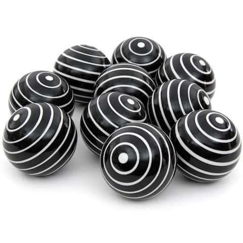 """Handmade 3"""" White Stripes Porcelain Ball, Set of 10"""