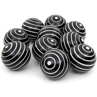Handmade White Stripes 3-inch Porcelain Ball Set (China)