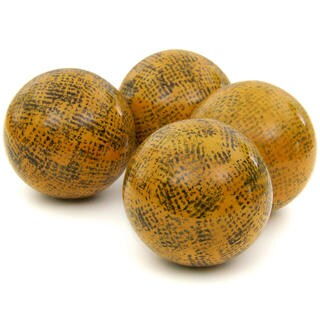 Handmade Sponged Yellow 4-inch Porcelain Ball Set (China)