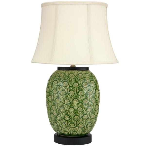 Handmade 25-inch Green Feather Design Porcelain Jar Lamp (China)