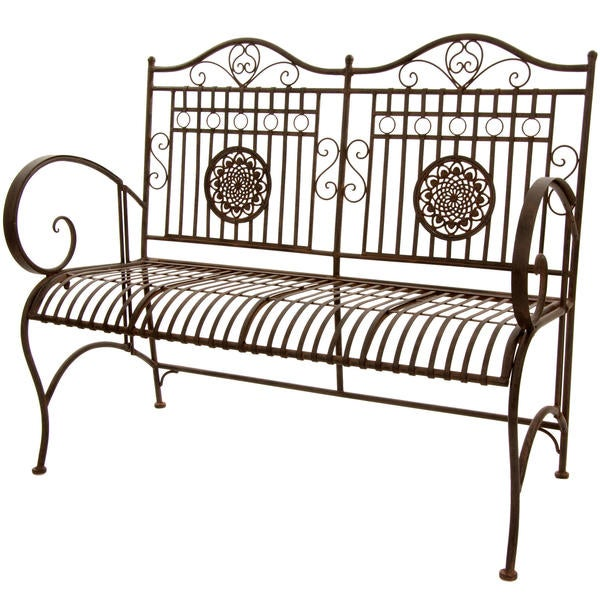 Handmade Rust Patina Rustic Metal Garden Bench (China)