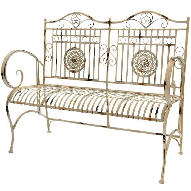 Distressed White Rustic Metal Garden Bench