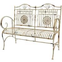 Maison Rouge Elizabeth Handmade Distressed White Rustic Metal Garden Bench