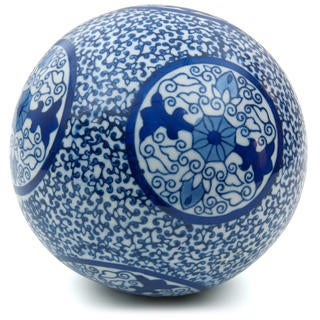 Handmade 6-inch Blue Medallions Decorative Porcelain Ball (China)