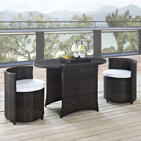 Katonti Outdoor Patio 3-piece Espresso\ White Dining Set